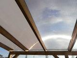 Bovenbouw dak polycarbonaat (10m breed en 4m diep) -Helder(lichtdoorlaten 75%)_