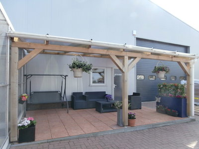 Bovenbouw dak polycarbonaat (8m breed en 3m diep) - Extra Helder.