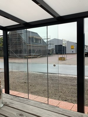 3 Glaswanden 90 cm breed 215 cm hoog totaal 266 cm breed