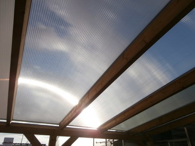 Bovenbouw dak polycarbonaat (5m breed en 2m diep) - Helder(lichtdoorlatend 75%)