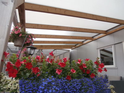Bovenbouw dak polycarbonaat (7m breed en 4.5m diep) - Helder(lichtdoorlatend 75%)
