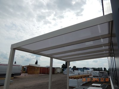 Dak Compleet Aluminium 7m breed 3 m diep Helder Ral.9001 (Creme)