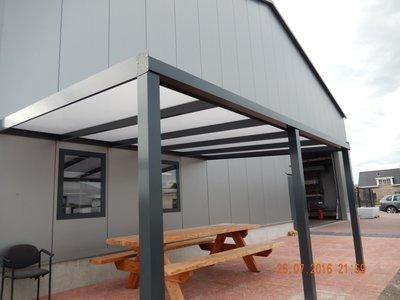Dak Compleet Aluminium 4m breed 4 m diep Helder Ral.7015(Antraciet)