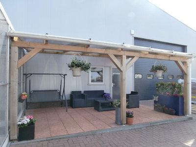 Bovenbouw dak polycarbonaat (4m breed en 3m diep) - Extra Helder.
