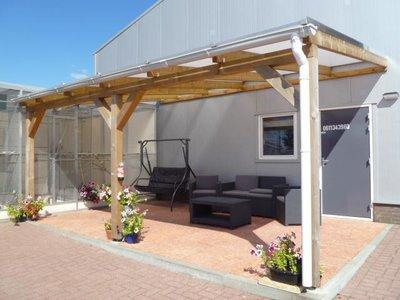 Bovenbouw dak polycarbonaat (4m breed en 2m diep) - Helder(lichtdoorlatend 75%)