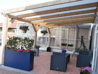 Bovenbouw dak polycarbonaat (5m breed en 5m diep) - Opaal